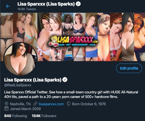 Lisa Sparxxx Official Twitter account @RealLisaSparxx